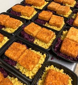 Vegan Tofu Schnitzel and Spaetzle and Braised Cabbage | SoCo Vedge - Vegan Food Delivery Service | Narragansett, Rhode Island