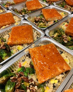 Vegan Chipotle Tempeh with Southwest Quinoa Salad and Roasted Brussel Sprouts | SoCo Vedge - Vegan Food Delivery Service | Narragansett, Rhode Island
