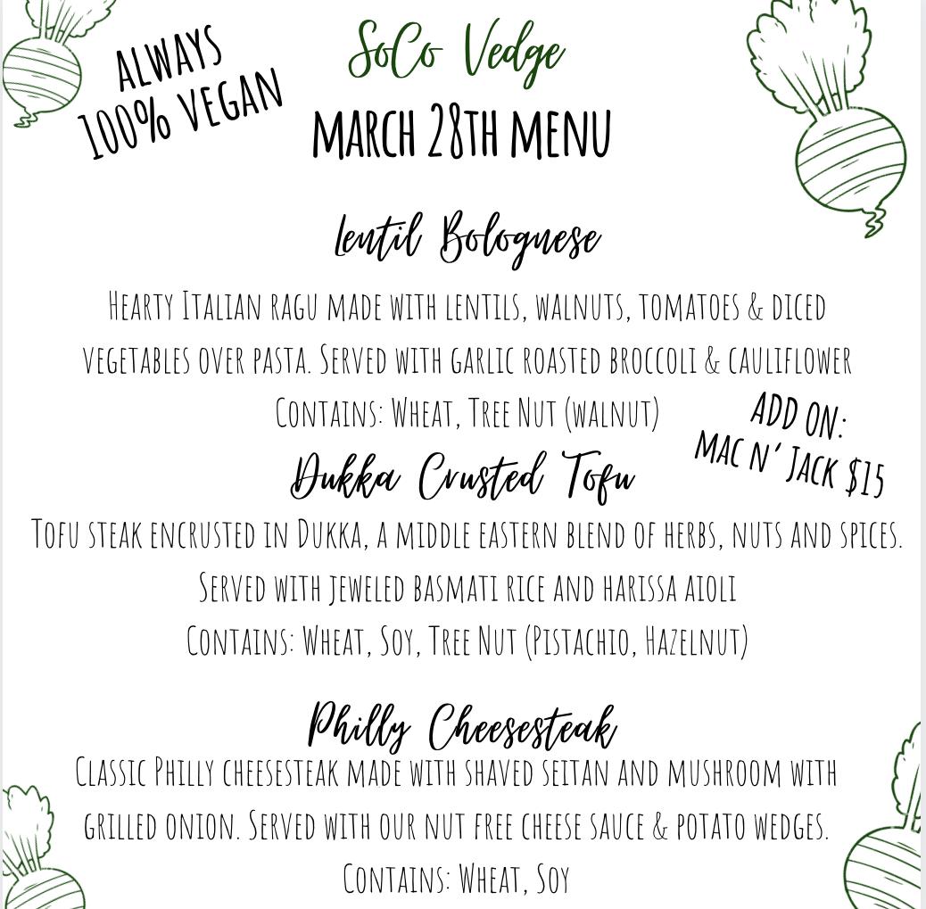 Vegan Menu | SoCo Vedge - Vegan Food Delivery Service | Narragansett, Rhode Island
