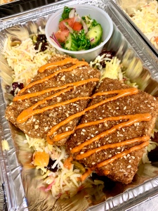 Vegan Dukka Crusted Tofu with Jeweled Basmati Rice | SoCo Vedge - Vegan Food Delivery Service | Narragansett, Rhode Island