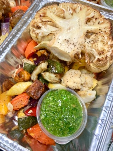 Cauliflower Steak with Grilled Vegetables and Chimichurri Sauce | SoCo Vedge - Vegan Food Delivery Service | Narragansett, Rhode Island