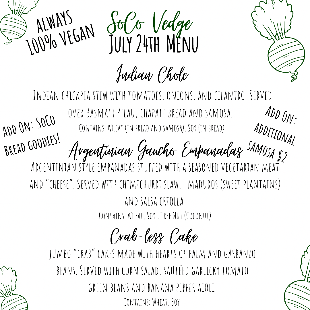 Vegan Delivery Menu | SoCo Vedge - Vegan Food Delivery Service | Narragansett, Rhode Island