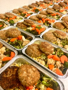 Vegan Gansett Cakes with Succotash and Roasted Vegetables | SoCo Vedge - Vegan Food Delivery Service | Narragansett, Rhode Island