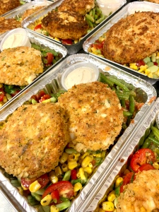Vegan Crab-Less Cakes with Corn Salad and Garlic Tomato Green Beans | SoCo Vedge - Vegan Food Delivery Service | Narragansett, Rhode Island