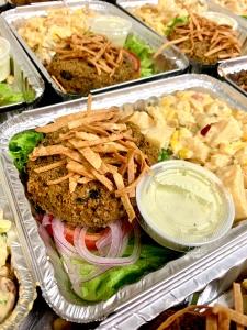 Vegan Black Bean Burger with Southwestern Potato Salad | SoCo Vedge - Vegan Food Delivery Service | Narragansett, Rhode Island